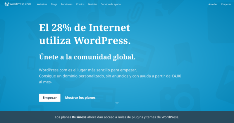 Qué es WordPress.com: una plataforma de blogging.