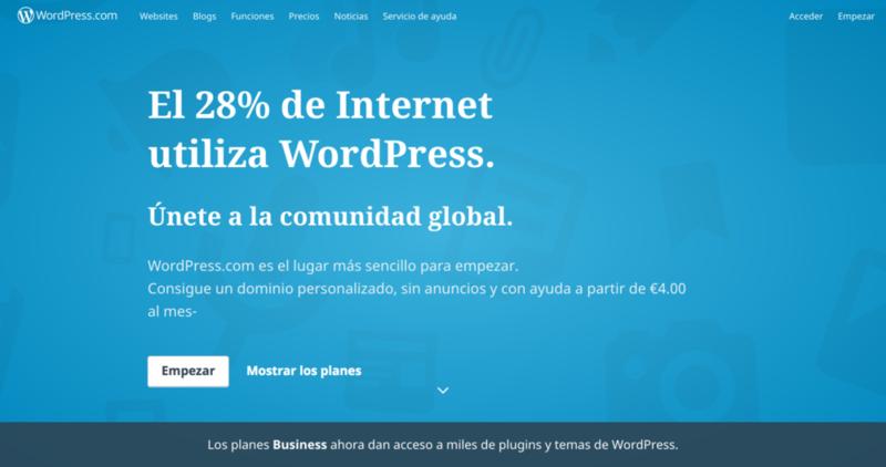 Qué es WordPress.com: una plataforma de blogging.