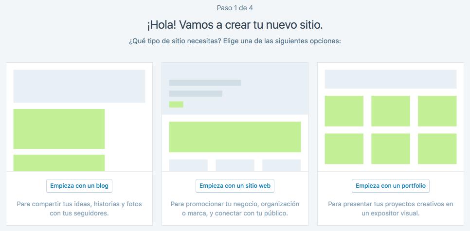 Puedes escoger entre un blog, un sitio web y un portafolio.