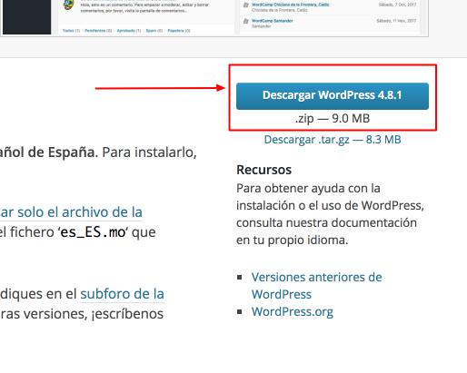 Lugar desde donde descargar WordPress
