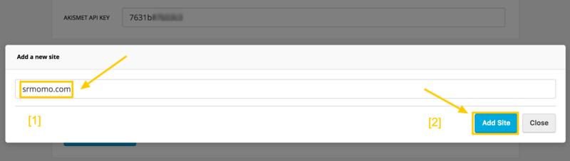 Añade tu web para activarla y poder utilizar Akismet.