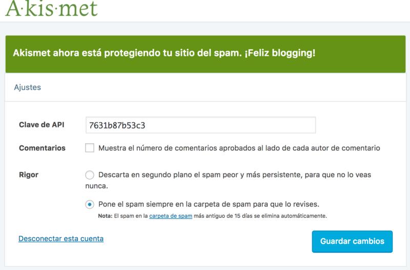 Akismet activado. ¡Adios spam!