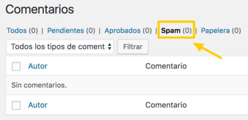 Aquí verás los comentarios que Akismet considere spam.