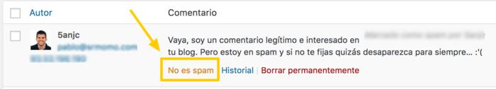 Así puedes desmarcar un comentario como spam.