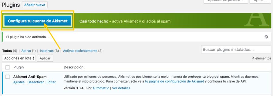 Segundo paso: conseguir la API key de Akismet.