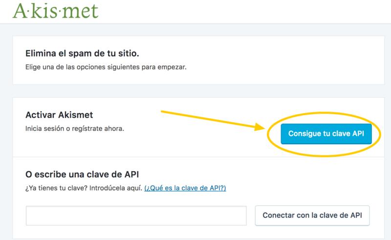 Desde aquí saltarás a la página de Akismet para obtener la clave API.
