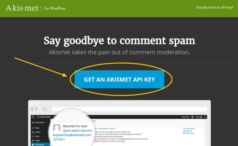 Clic para empezar proceso para obtener clave API de Akismet.