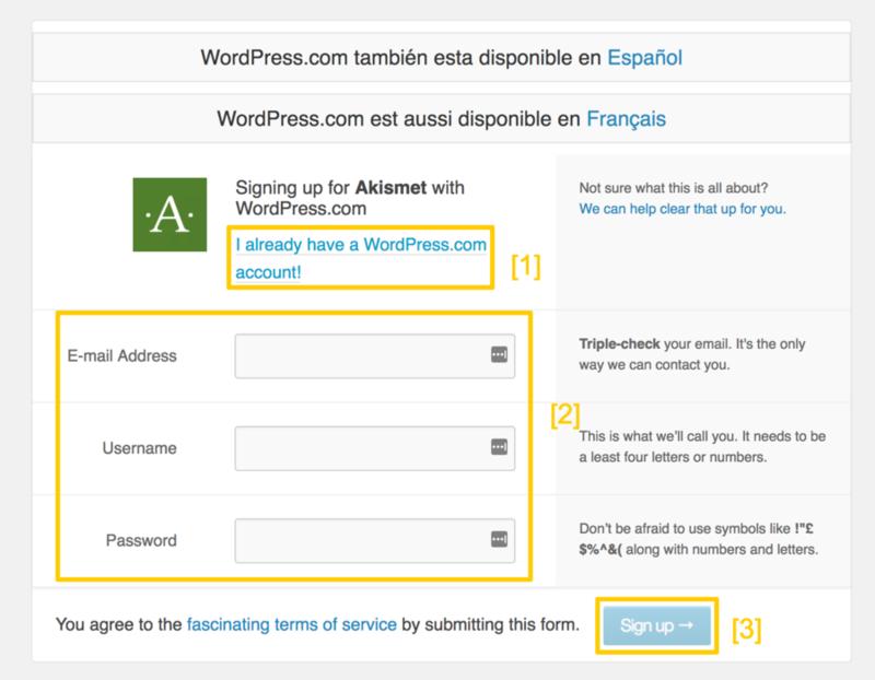 Crea una cuenta en WordPress o haz login si la tienes.