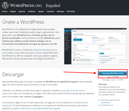 Descárgate WordPress en español.
