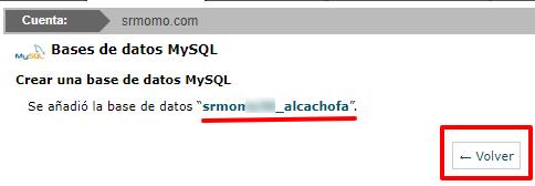 Anota el nombre de la base de datos.