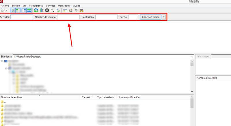 Especifica los datos de conexión FTP