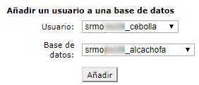 Selecciona el usuario y la base de datos para asociarlos.