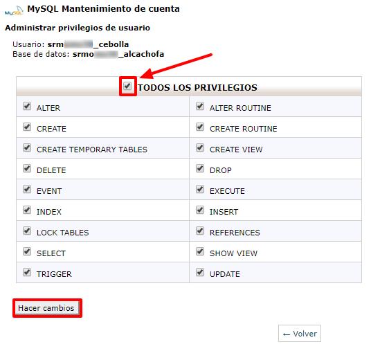 Dale al usuario MySQL todos los privilegios.