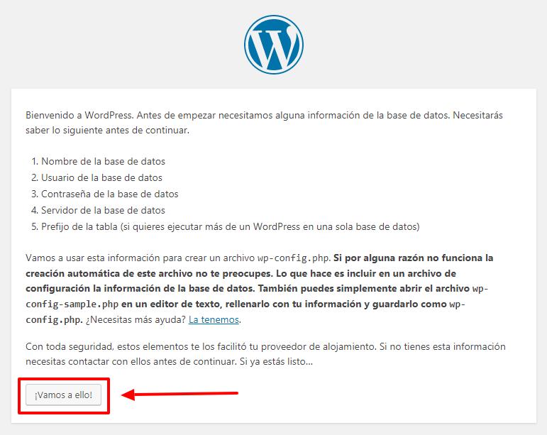 Aquí empieza la configuración de WordPress.