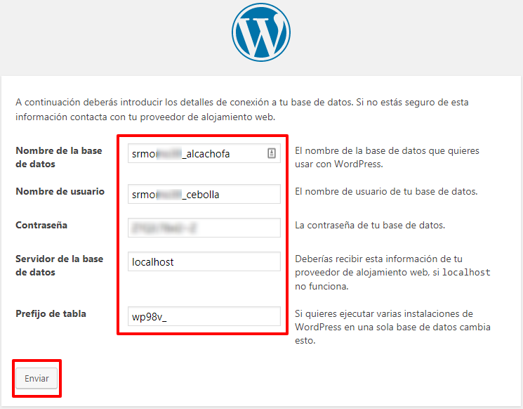 Rellena los campos de la base de datos de WordPress.