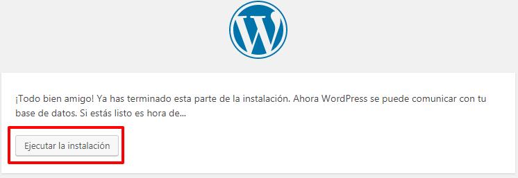 Inicia la instalación de WordPress.