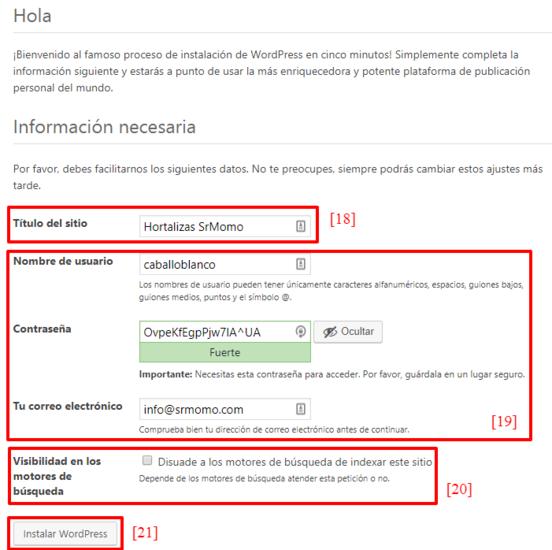 Configura los datos básicos de tu web con WordPress.