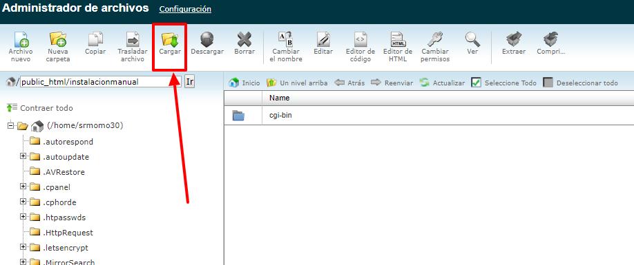 Carga el archivo de instalación de WordPress