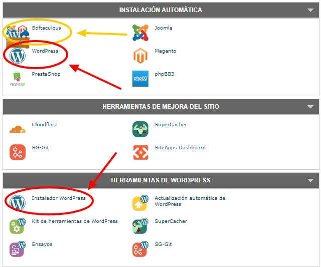 Existen diferentes accesos al instalador automática de WordPress Softaculous