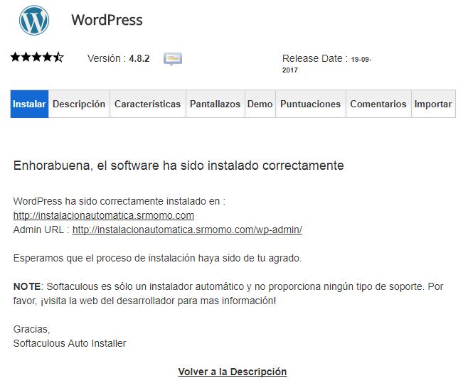 Has podido instalar WordPress de forma automática.