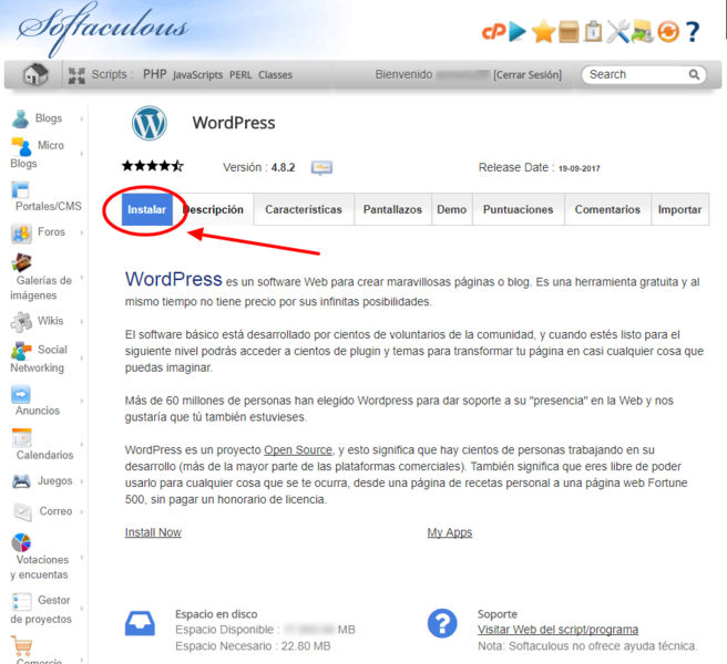 Instalador automático de WordPress de Softaculous.