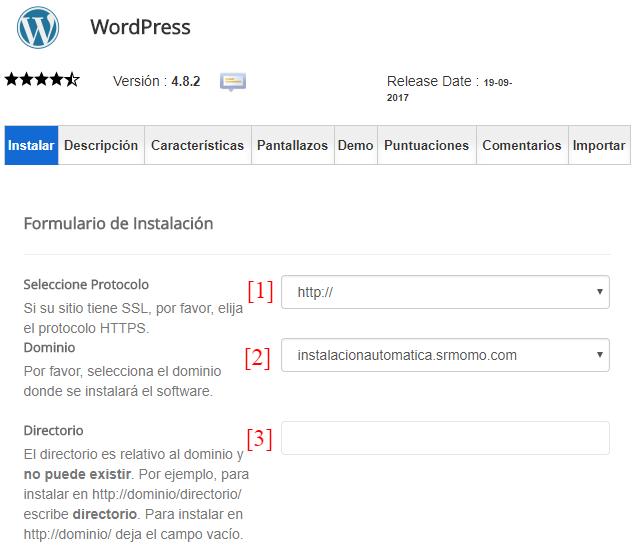 Formulario de instalación automática de WordPress