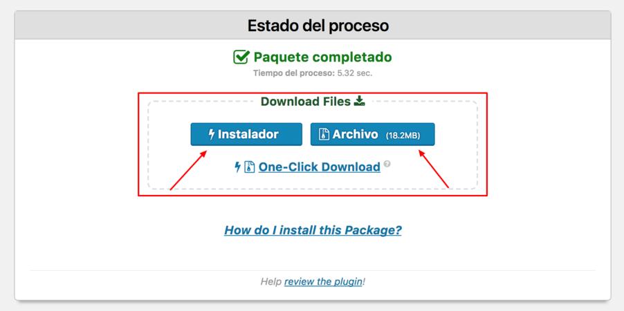 archivos resultantes del backup con Duplicator