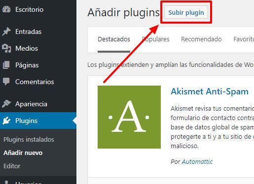 'Subir plugin' te permite subir el archivo comprimido de tu plugin.
