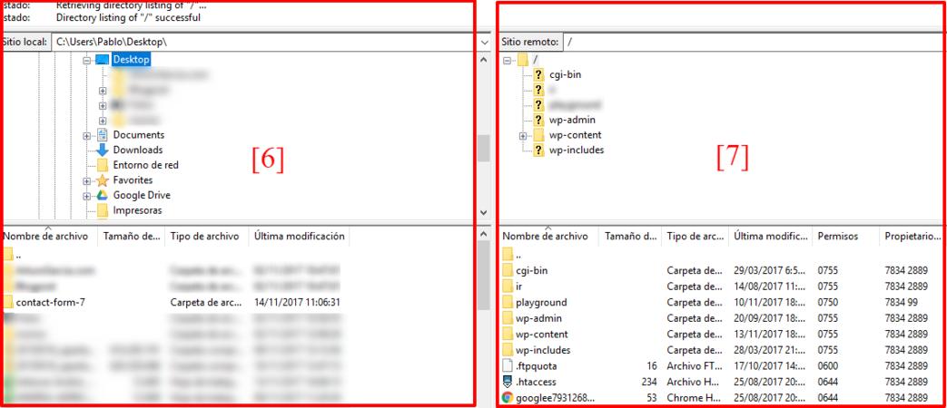 Aquí puedes ver los archivos de tu ordenador y los de tu servidor.