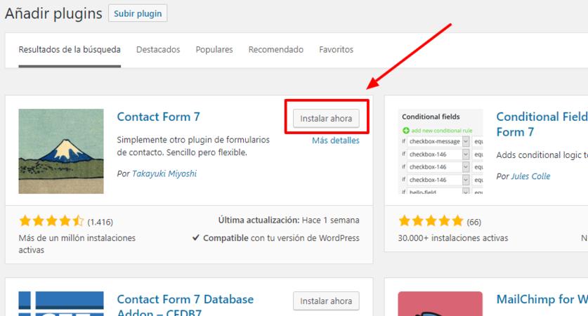 Haz clic en 'Instalar ahora' para instalar el plugin en WordPress.