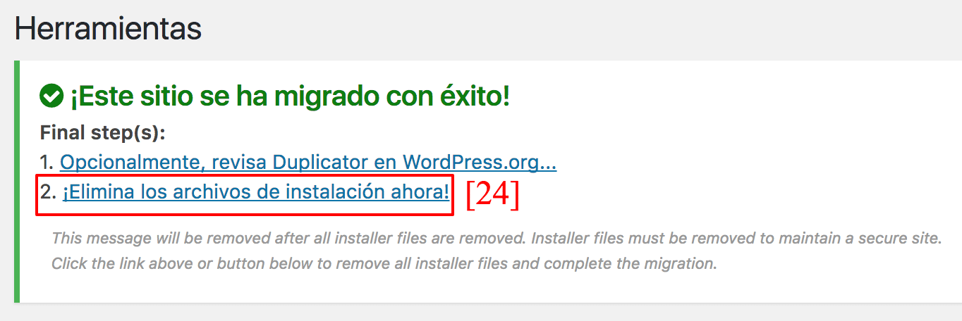 Borra los archivos de instalación por seguridad.
