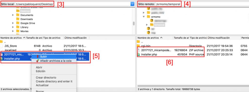 Transfiere el paquete para migrar tu web con Duplicator.
