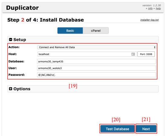 Rellena los campos de la base de datos.