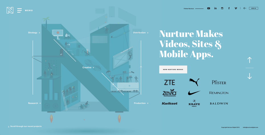 Ejemplo de web con tipografías grandes.