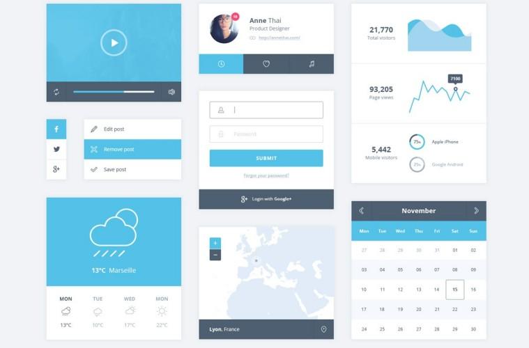 Ejemplo de kit de interfaz del usuario azul.