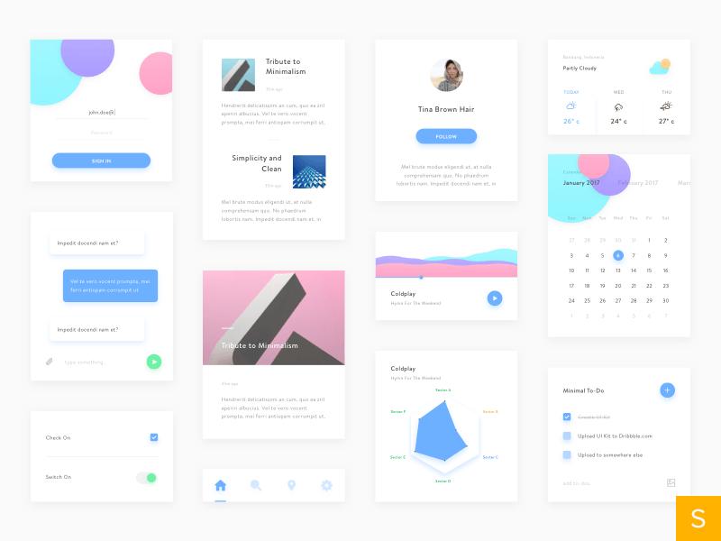 Kit de interfaz de usuario (UI) con 4 colores muy minimalista, con el azul como protagonista y el resto como colores secundarios.