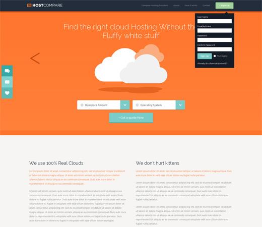 Web de una compañía de cloud hosting que pretende cambiar el modo de ver el hosting.