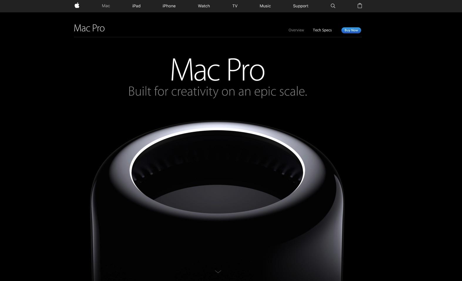 Web de Apple, que utiliza el negro en muchas ocasiones.