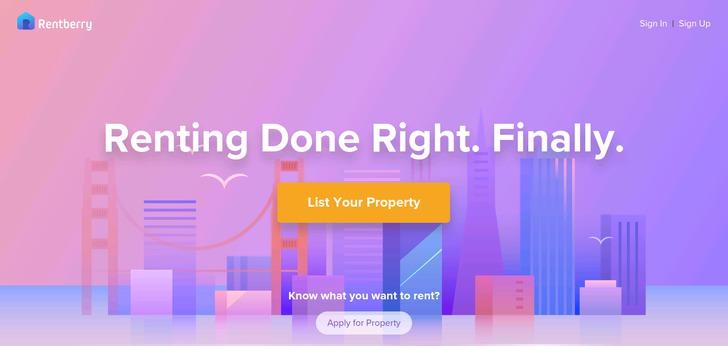Presencia de morado como color web en alquiler de propiedades.