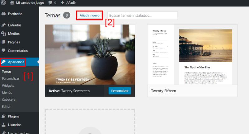 Primeros pasos para añadir una plantilla en WordPress desde el repositorio oficial.