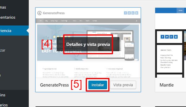 Haz clic en 'Instalar' para instalar un tema desde el repositorio de WordPress.