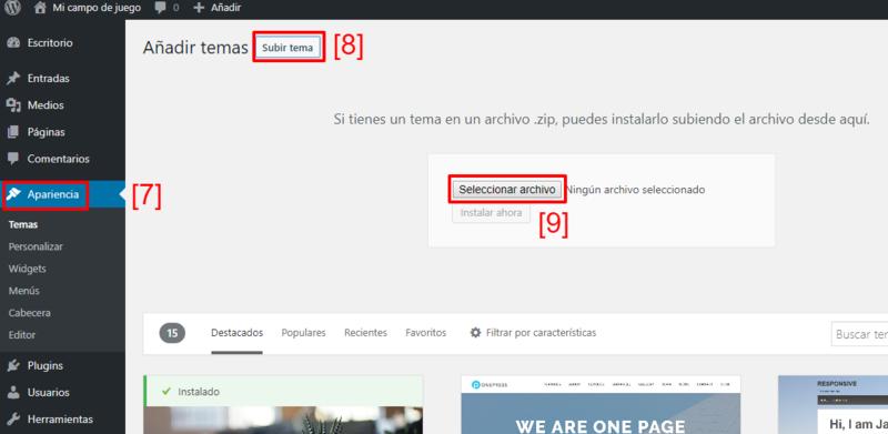 Otra forma de instalar un tema en WordPress es desde su .zip