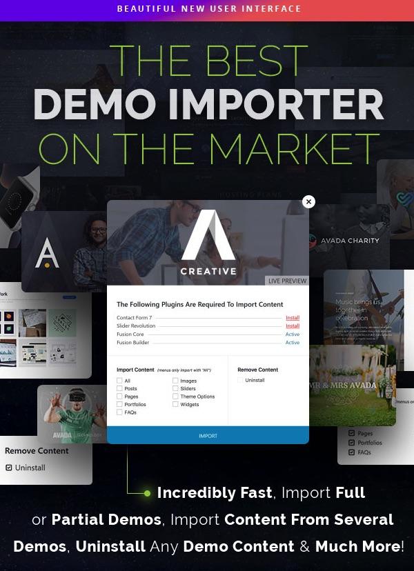 Ejemplo de plantilla en Themeforest que te destaca su importador de demos.
