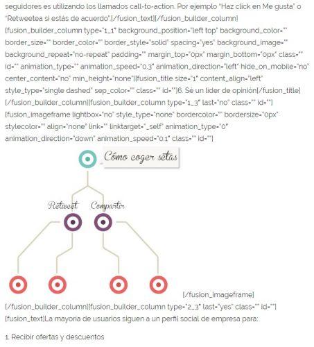 Ejemplo del rastro que dejan los shortcodes de un maquetador visual.