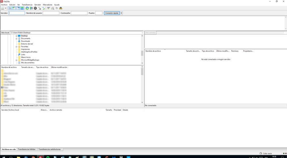 Vista de mi cliente FTP de escritorio. Sin estar conectado a mi web.