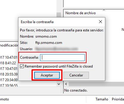introducir contraseña FTP