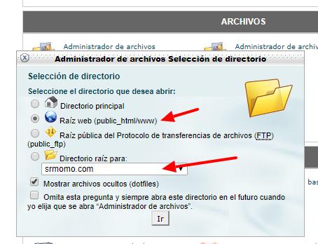 Selecciona el directorio que quieres abrir en WebFTP.