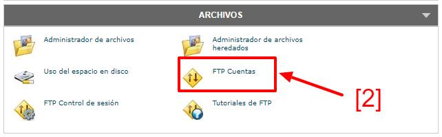opción FTP cuentas desde cPanel