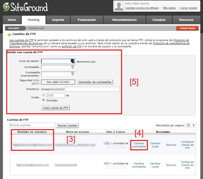 Aquí gestionas tus cuentas de FTP en cPanel.
