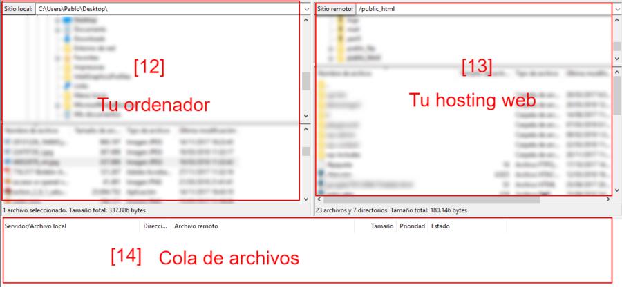Así se reparte el espacio en FileZilla.